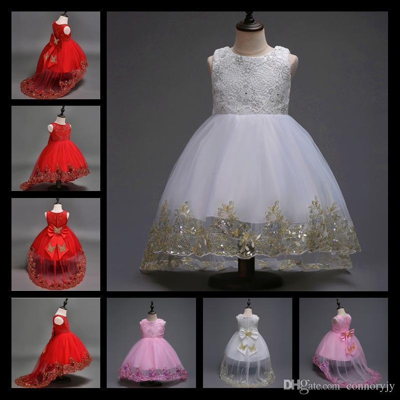 Blumenmädchen-Kleider mit langem Zug für Hochzeiten Weißes Rosa-rote ...