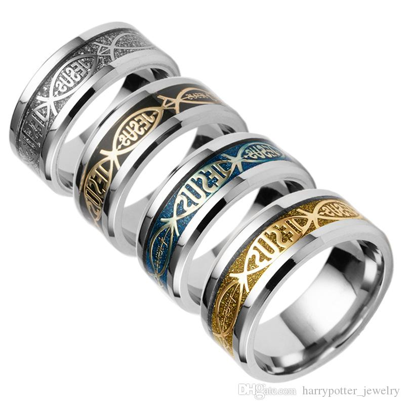 Aço inoxidável cristão jesus anel cluster dedo anéis prata prata banda de ouro para as mulheres homens acreditam que as jóias inspiradas