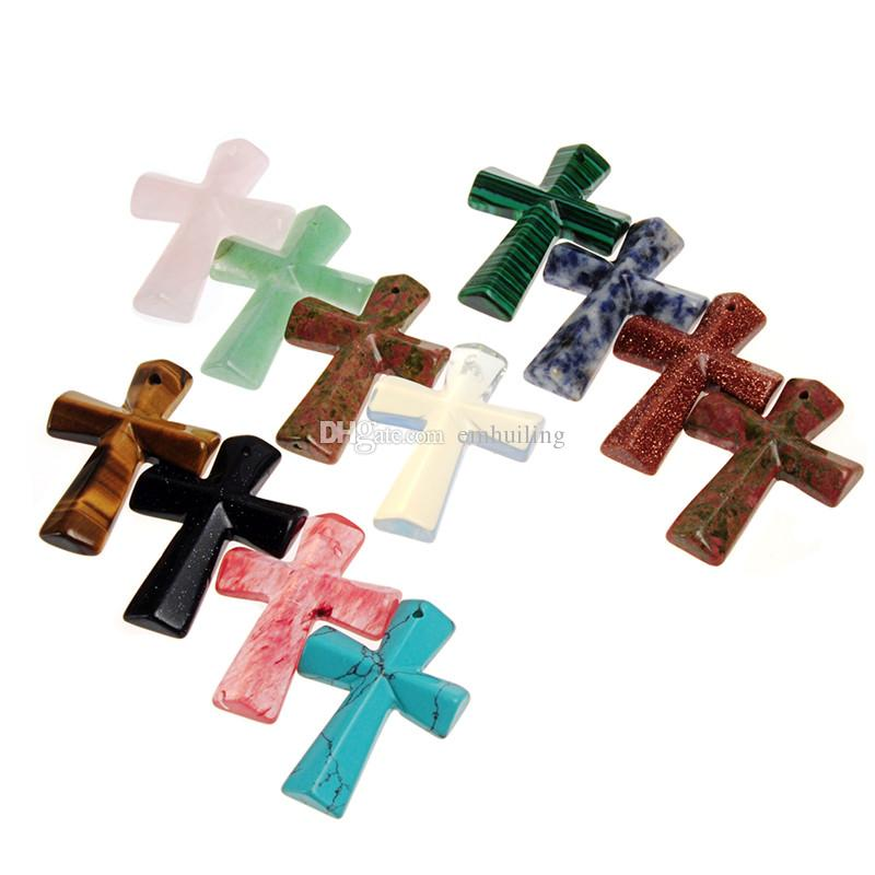 Cross Pendant Top Drilled Hole Rose Quartz Pietersite Jesus Pendant for Men Women New Gift Christian Religious Prayer Jewelry Necklace DIY