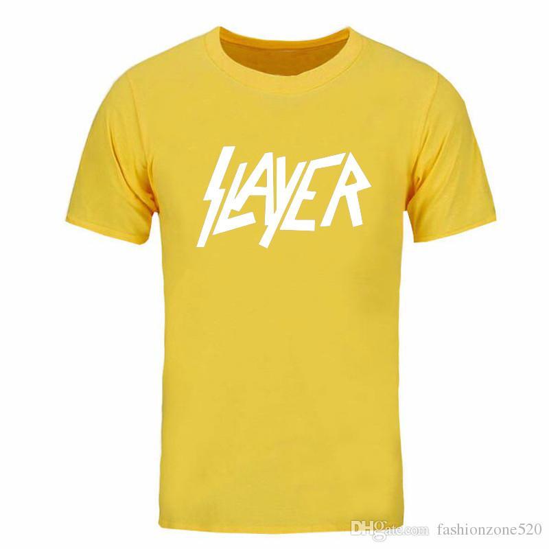 Men Short Sleeve Casual T-Shirt O Neck Cotton Mens More size and color tshirt Slayer T Shirts Man Rock Music DIY-0178D