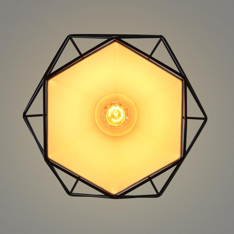 Luzes de pingente de gaiola preto moderno ferro minimalista retro luz Loft escandinavo lâmpada pirâmide gaiola de metal com lâmpada led