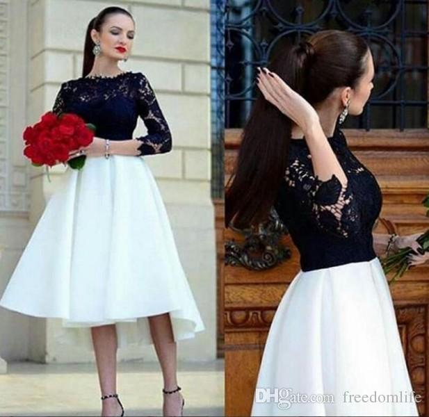 92e3ea4d97e Black And White Short Prom Dresses For Graduations Long Sleeve Tea Length  Cocktail Dress 2017 Elegant Arabic Lace Party Gowns Prom Dress Outlet Prom  Dress ...