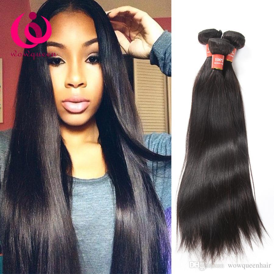 Raw Indian Hair Weave Straight Brazilian Virgin Hair Peruvian