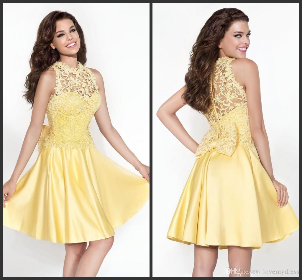 Real Simple Party Dresses Short Yellow Appliques Pearls Elegant ...