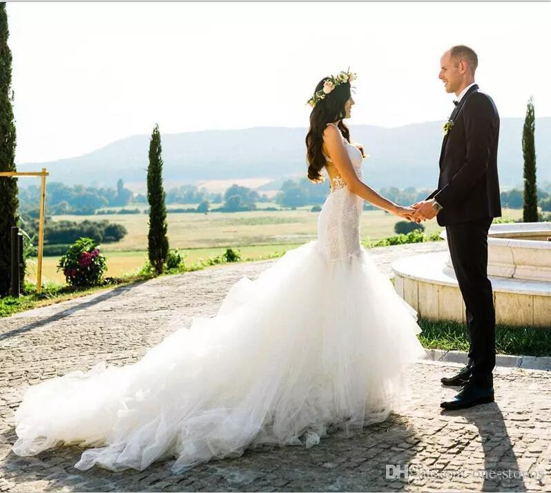 2017 Sexy Backless Mermaid Wedding Dresses Bridal Gowns Lace Portrait Sweetheart Tulle Tiered Skirts Court Train Custom Made Modest Dress