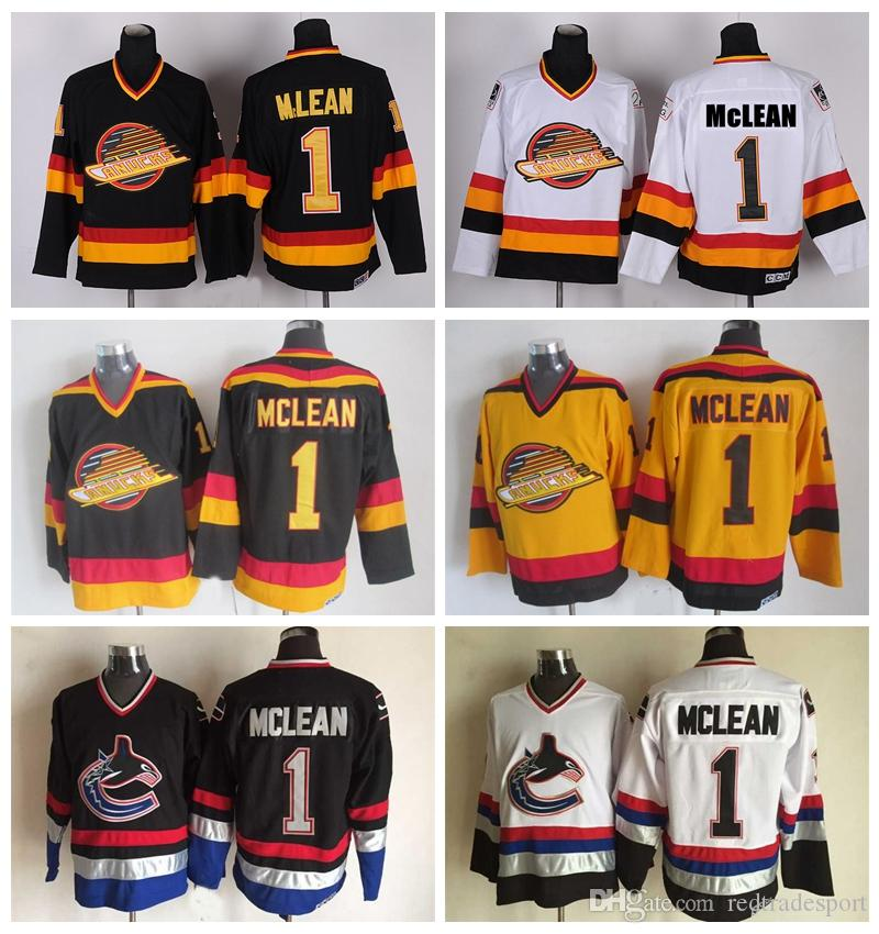 aaa791285d4 2019 Vintage Vancouver Canucks 1 Kirk Mclean Hockey Jerseys Vintage Classic  Black White Yellow Cheap Mens Kirk Mclean Stitched Jersey S XXXL From ...