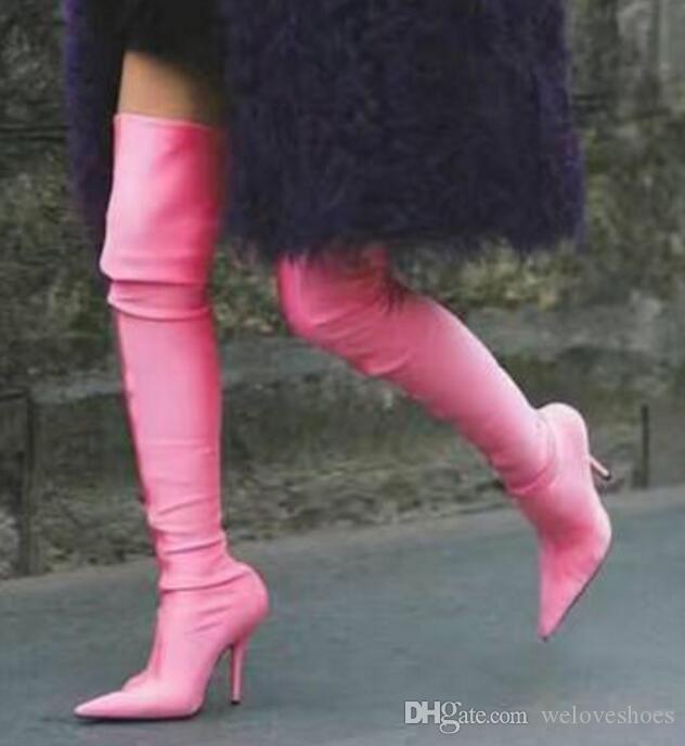 2017 النساء الفخذ أحذية عالية لون الحلوى مادة الحرير الجوارب رقيقة كعب بوينت تو تل المصارع الجوارب اللباس أحذية فوق الركبة أحذية عالية