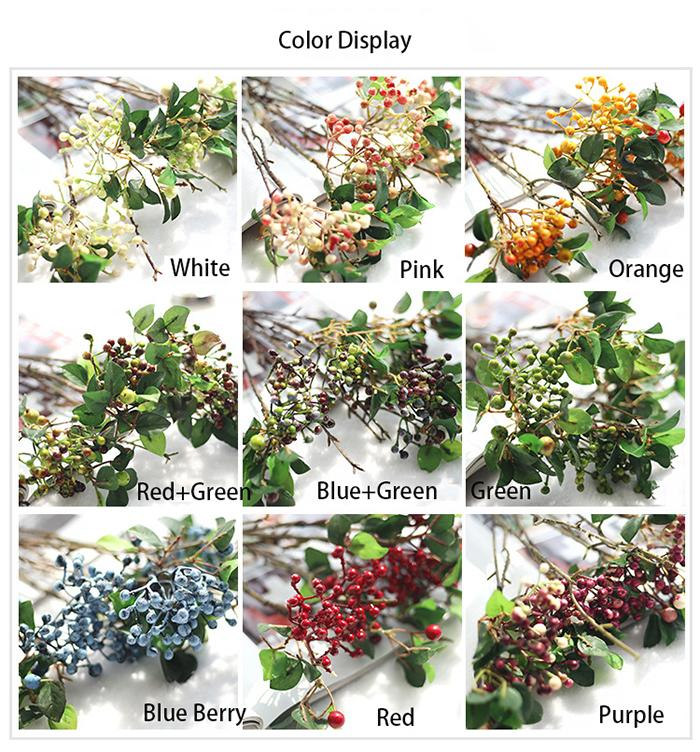 Wholesale Artificial berries bouquets fake flower fruits berry plants for wedding home bedding set table decoration