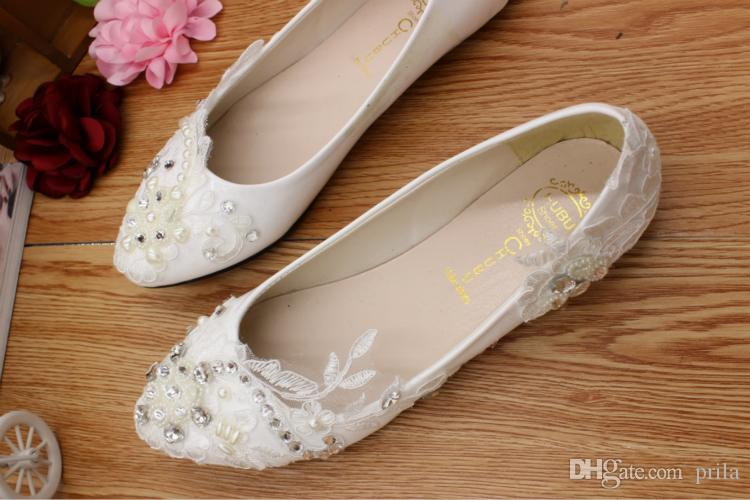Asymmetrical design fashion lace flats wedding shoes woman silver rhinestones diamond pearls decoration DG196 bridal shoes womens