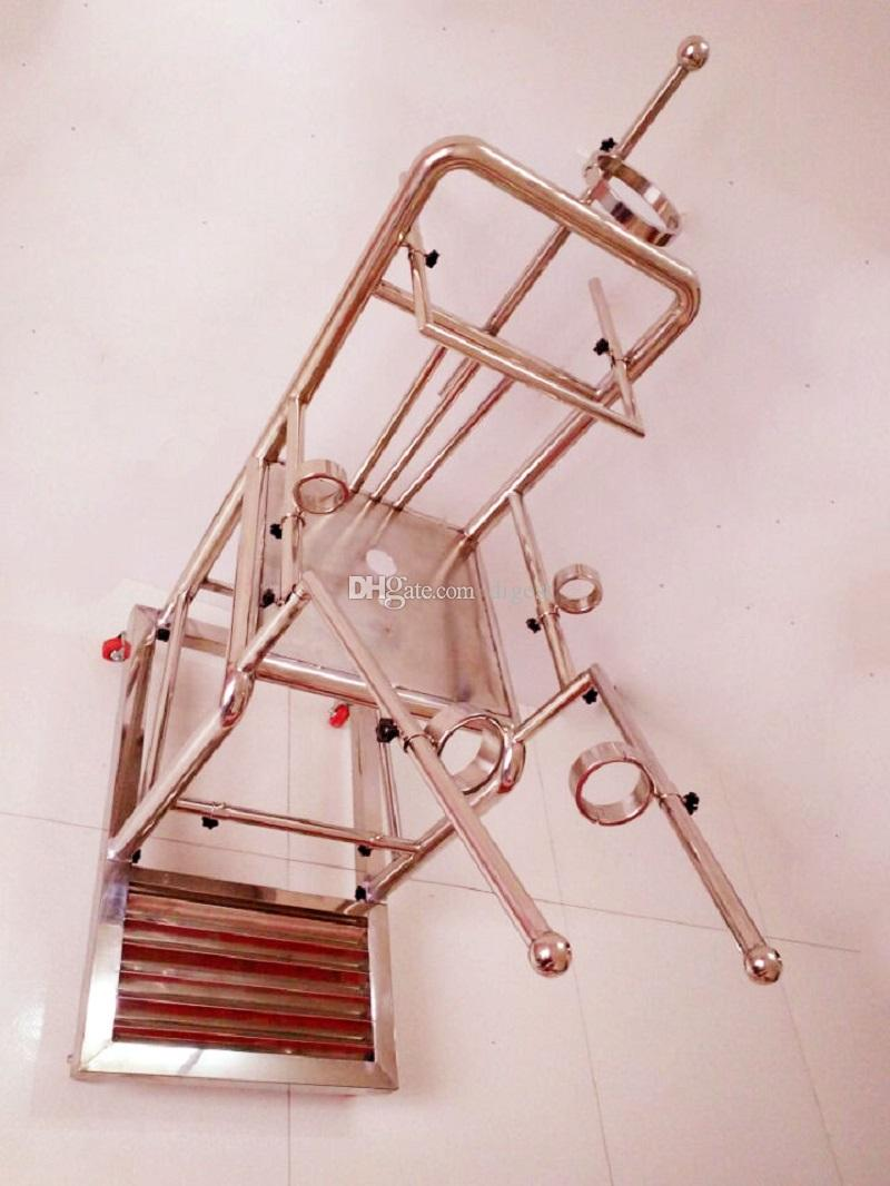 New Heavy Duty Stainless Steel Tuning Chair with Open Legs Fixed Hand cuffs Sex Chair BDSM Bondage Sex Furniture Sex Games for Couple