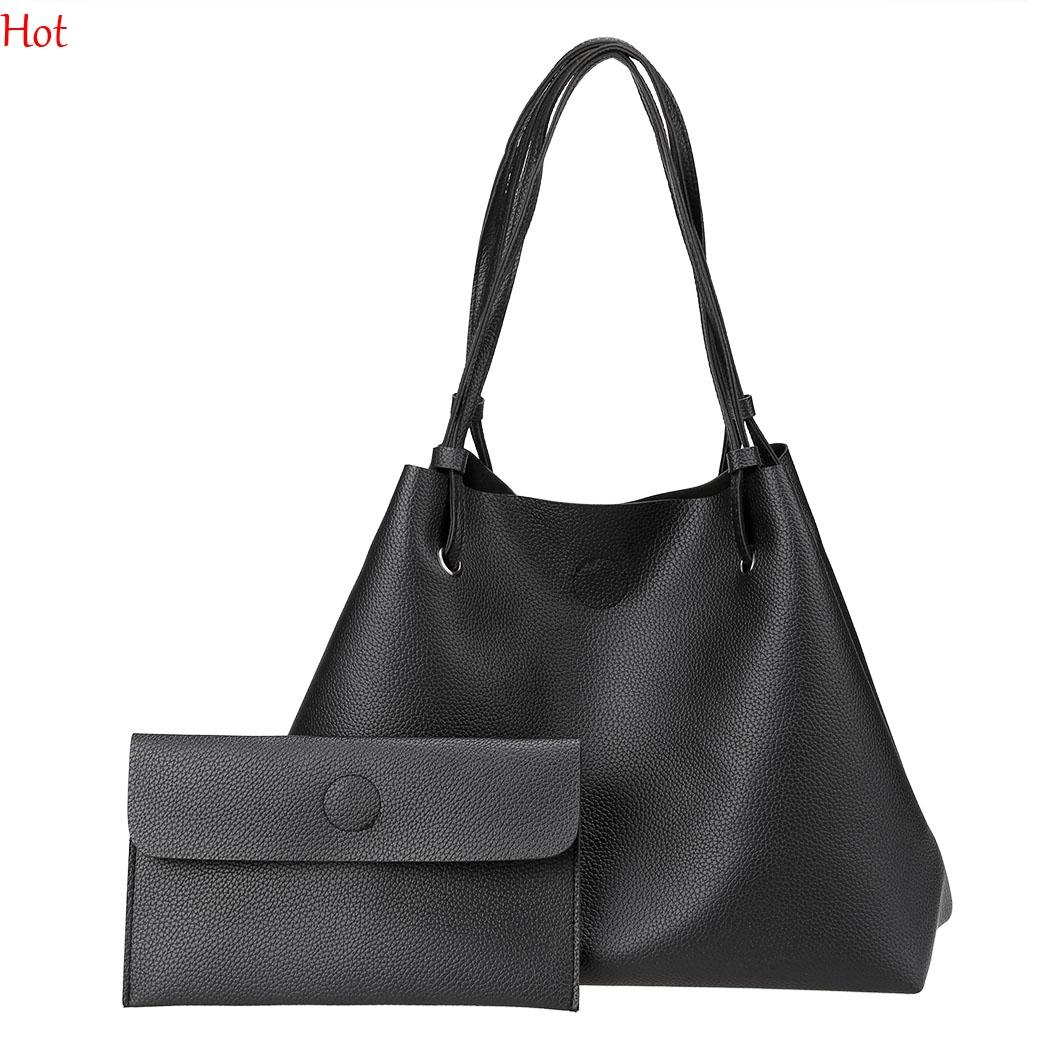 Women Shoulder Bag Soft Leather Top Handle Messenger Work Bags Ladies  Tassel Tote Casual Korea Handbag Women S Composite Bag Black SVN030856  Black Handbag ... 20f5b73147