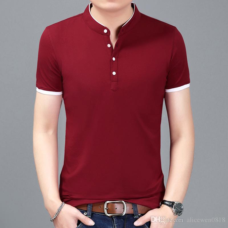 2017 Estate New Mens T Shirt Moda Solid manica corta Casual Top Tee Stand colletto T-Shirt Uomo Nero / Bianco / Rosso / Grigio / Blu Navy Plus 4XL
