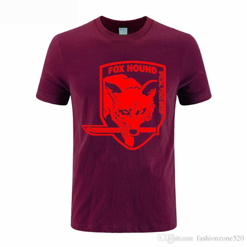 Metal Gear Solid MGS Fox Hound Videogame Mens Camisa Dos Homens T Camiseta Moda verão de Manga Curta de Algodão T-shirt Tee Camisetas Hombre