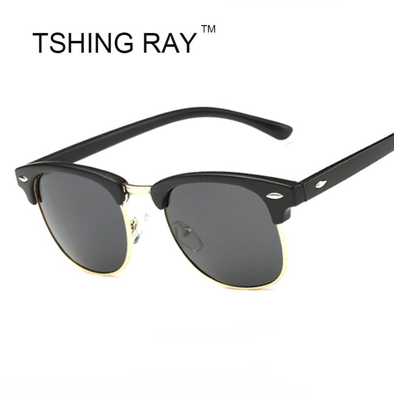baad5a92c745a TSHING RAY Half Frame Polarized Sunglasses Men Women Brand Designer ...