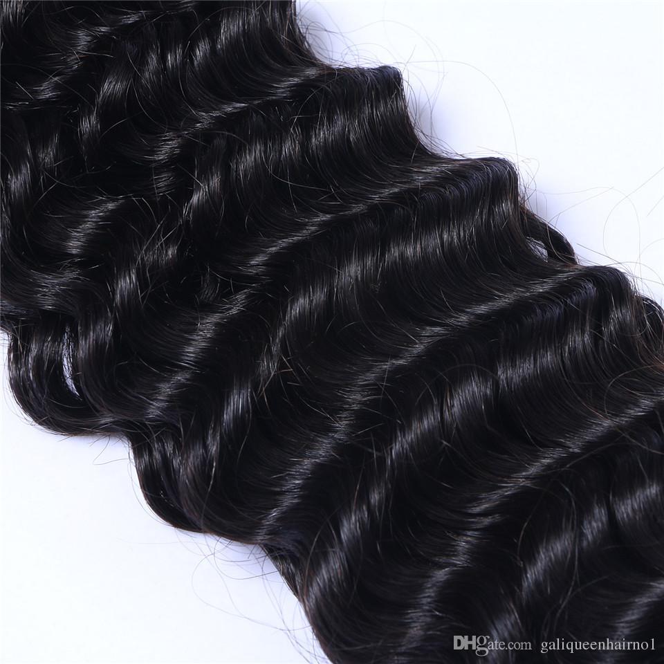 بيرو عذراء الشعر البشري موجة عميقة مجعد غير المجهزة ريمي الشعر ينسج مزدوجة لحمة 100 جرام / حزمة 1Bundle / يمكن مصبوغ