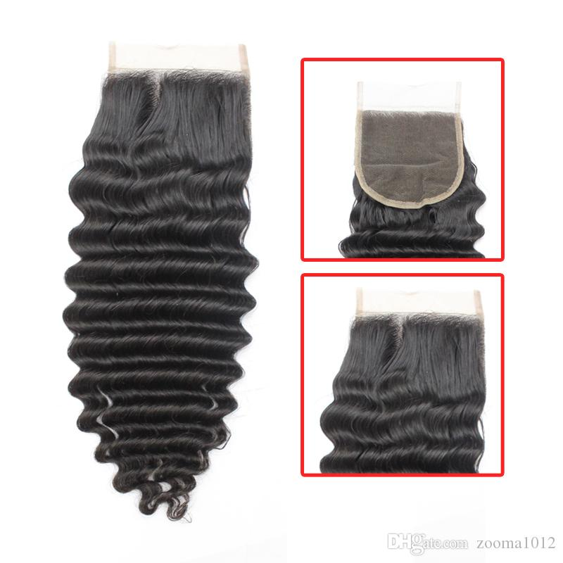 7a tiefes lockiges reines brasilianisches haar bundles mit lace closure unverarbeitete peruanische menschenhaar spinnt mit verschluss 1b schwarz weiches haar schuss