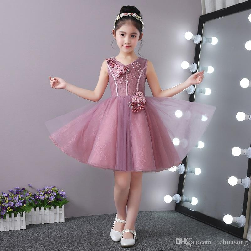 fd0c0276f9 Children Dress Birthday Princess Dress Host Costumes Tongpengpeng Skirts In Summer  Wedding Flower Girl White Girl Dresses From Jiehuasong