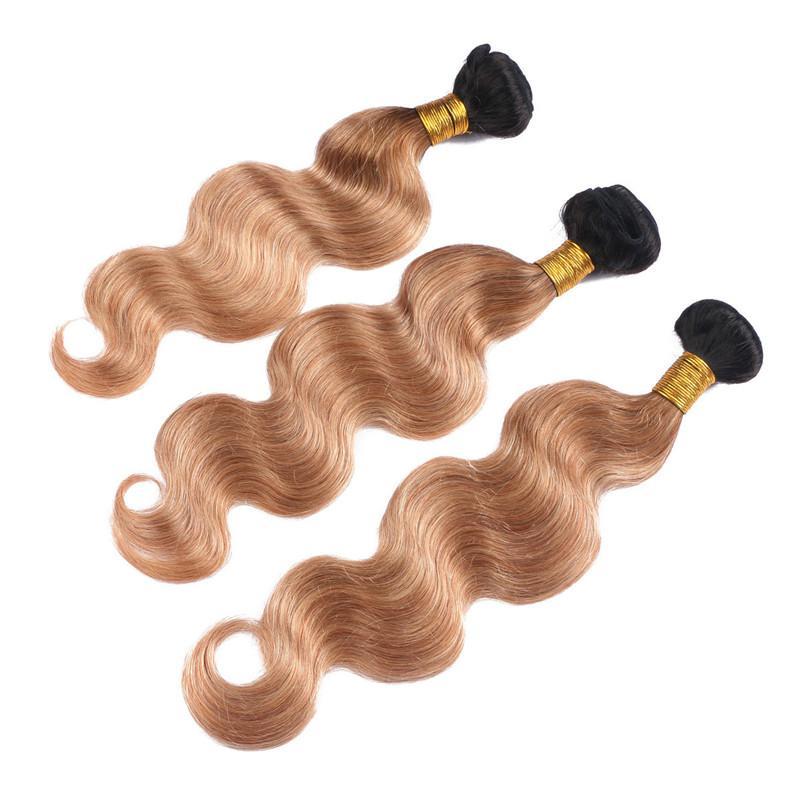 Pérou Virgin Ombre homme Tissages cheveux avec dentelle Body Frontal vague 1B / 27 Honey Blonde Ombre 3Bundles avec la pleine dentelle Frontal 13x4