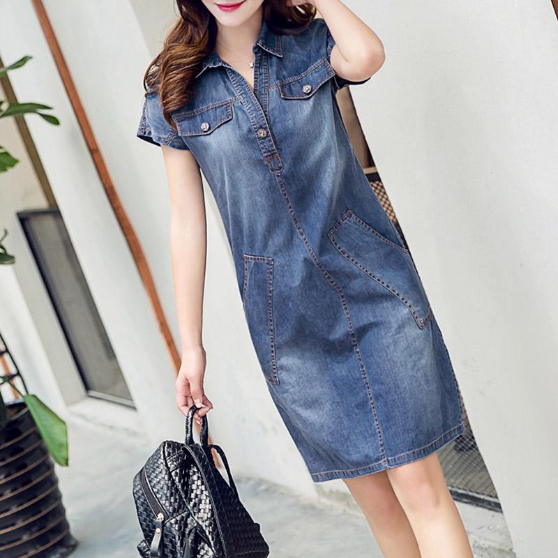 2018 Wholesale 2017 Denim Dress Plus Size Women Clothing Casual Blue