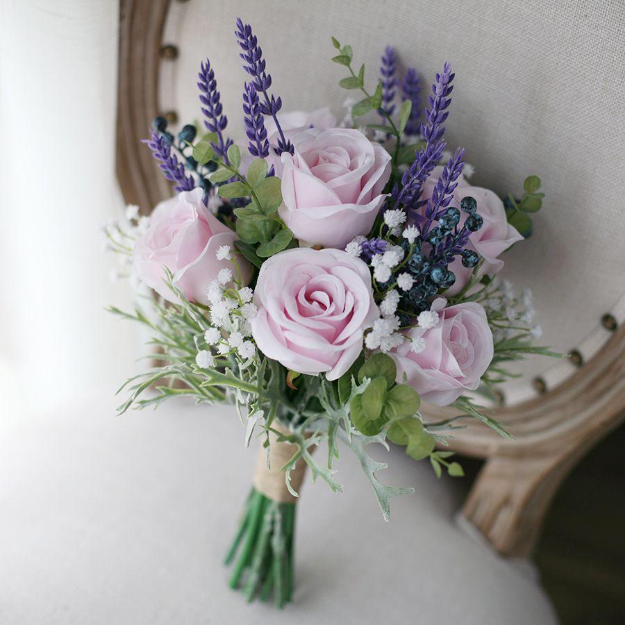 Bouquet Lavanda Sposa.Acquista Jane Vini Rose Rosa Artificiali Fiori Viola Lavanda Di