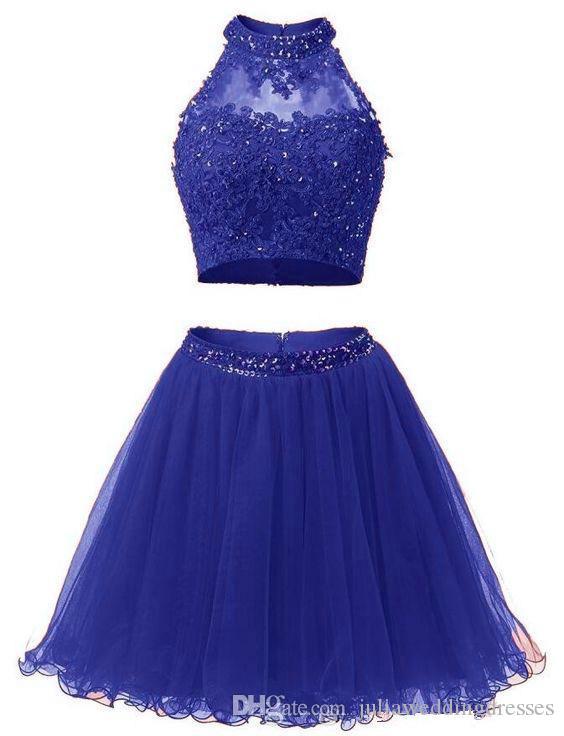 2017 Sexy Mini Short Homecoming платье из двух частей бисера Аппликация Кружева Выпускного Коктейль Пром платье QC117