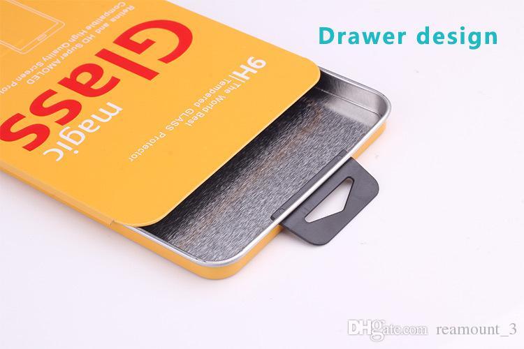 100 unids Caja de embalaje de lata de la alta calidad del envío libre para el protector de cristal moderado protecBOX de la pantalla para iphone5s 6 6 más