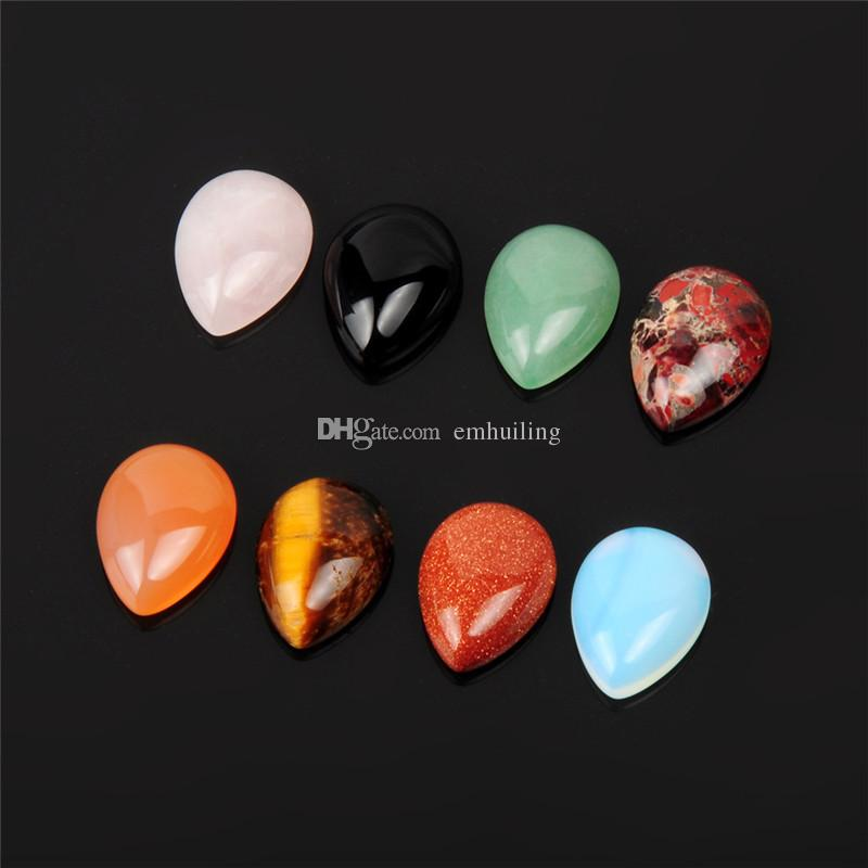 Amazing Water Drop Pointed Magic Healing Reiki Chakra Rock Crystal Beads Fire Agate Black Onyx Mix Cabochon Cab Genuine Gemstone DIY Jewelry