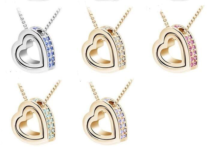 Coração De Cristal Colares Pingentes de Ouro 18 K E Banhado A Prata Jóias Jewerly Colar Mulheres Moda Jóias Por Atacado Frete Grátis