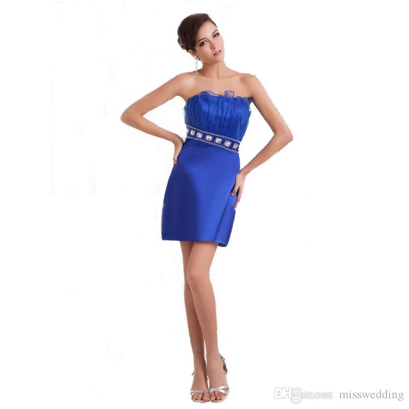 bfa6338fb Compre Estilo Moderno Caderas Atractivas Vestido Azul Vestido De Las  Señoras Por Encima De La Rodilla Longitud Del Hombro Vestido Corto Con  Cuentas Moda A ...