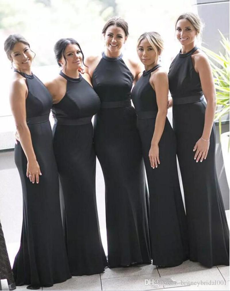 Satin long mermaid black bridesmaid dresses 2017 halter sleeveless satin long mermaid black bridesmaid dresses 2017 halter sleeveless backless floor length ribbons off the shoulder wedding party gowns lime green bridesmaid ombrellifo Gallery