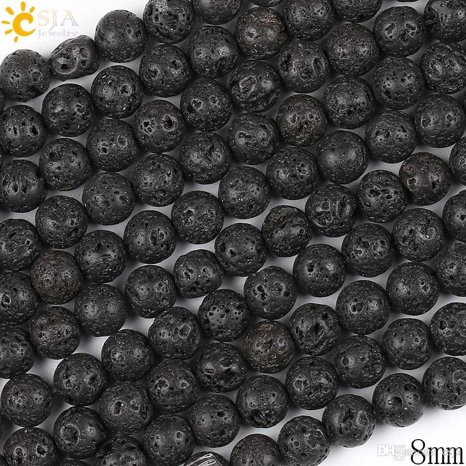 CSJA Desconto 8mm Pure Black Beads Lava Rocha Solta Natural Cura Pedra Beads para Fazer Masculino Feminino Colar Pulseira Jóias DIY E193 C