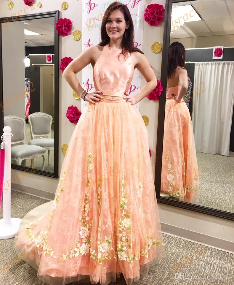 Floral Prom Dresses 2k17 Spring with Halter Neck and Backless Real Models Romantic Peach Tulle Lace Dance Dress