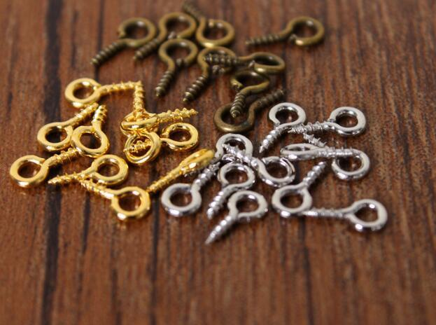8mm Screw Eyes Small Tiny Mini Eye Pins Eyepins Hooks Eyelets Screw Jewelry Components Threaded Silver Clasps Hooks Jewelry Findings DHL