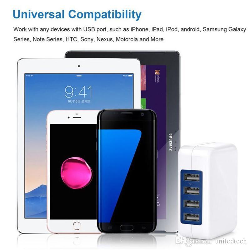 5 볼트 3.1A 고속 4 포트 USB 벽 충전기 휴대용 여행 충전기 전원 어댑터 접는 플러그 아이폰 7 6 초 플러스 아이 패드 안드로이드 전화