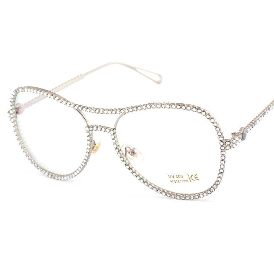 2018 Wholesale Makeup Pink Rhinestone Pearl Glasses Frame Women ...