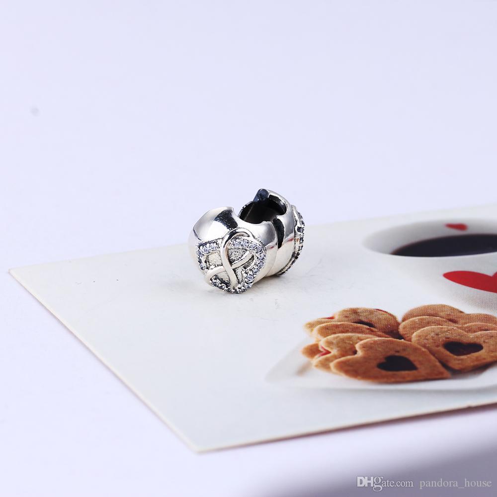2017 nouvelle authentique 925 Sterling Sterling Silver Heart Cz Clip CZ Clip Européenne Charms Perle Fit Pandora Chaîne Chaîne Bracelet DIY Mode Bijoux