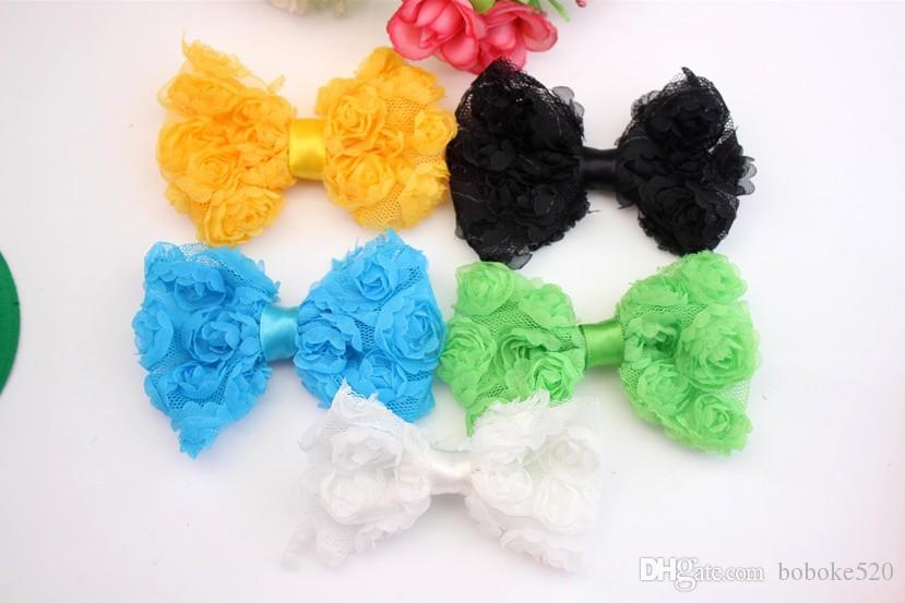 """3.2"""" baby Rosette Bows WITHOUT CLIPS Chiffon hairbows DIY baby girls hair accessories bows for headband"""
