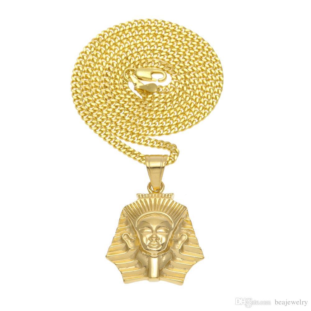 Мода Позолоченный Древний Египет Король Тут Фараон Ожерелье Кубинской Цепи Из Нержавеющей Стали мужские Хип-Хоп Ювелирные Изделия