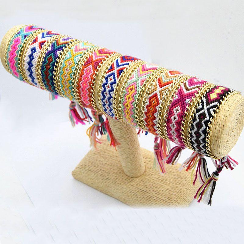 Amazing Style Handmade Cotton Woven Rope String Hippy Boho Friendship Bracelet Gold Plated Alloy 10 Design Mixed Summer Bracelet