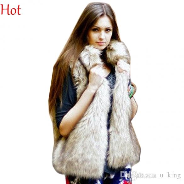 be491dc3601 2019 New Hot 2016 Winter Waistcoat Women Fur Vest Faux Fur Coat Leisure  Women Warm Gilet Vest Plus Size M XL Sand Collar Outwear Vests SV005838  From U king