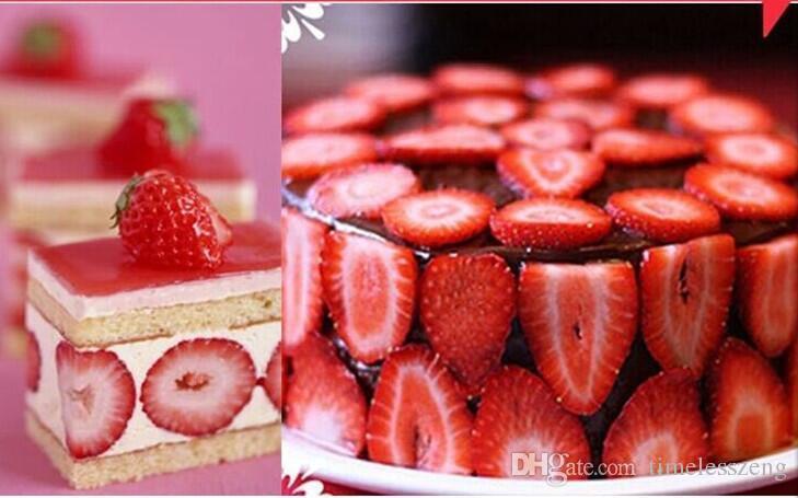 Strawberry Slicer Kunststoff Obst Carving Tools Salat Cutter Küchen Gadgets Zubehör Werkzeuge Cutter Edelstahl Klinge Slicer