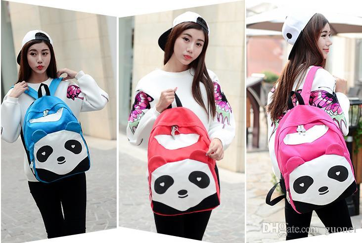 Fashion Lovely Canvas Panda Canvas Women Backpack School Student Shoulder Bags For College Mochilas Nylon Casual Daypacks