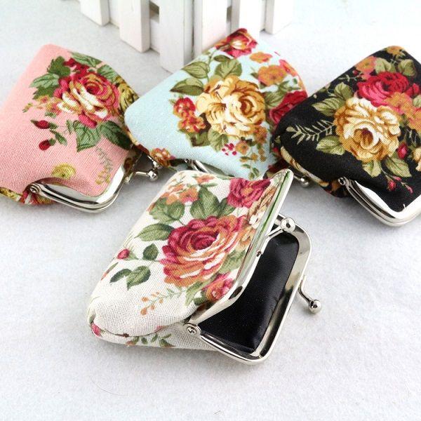 50 stücke Mode Hot Vintage rose blume geldbörse leinwand schlüsselhalter brieftasche hasp kleine münze ändern geschenke tasche kupplung weihnachten geschenk handtasche