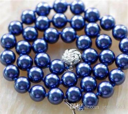 3727b9716 8MM Navy Blue Sea Shell Pearl Necklace AAA From Jewes663, $15.06    DHgate.Com