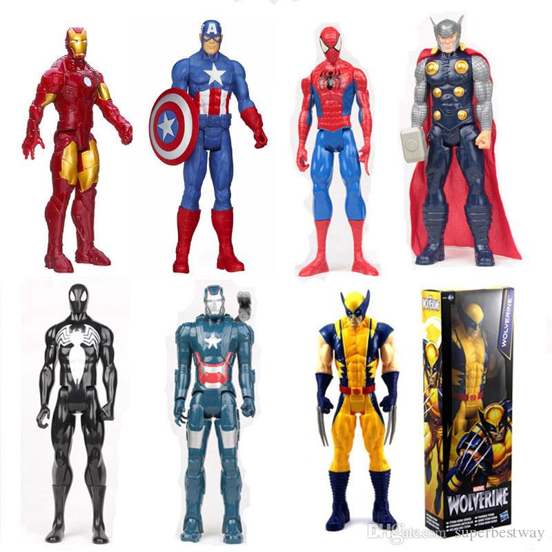 Avengers PVC Action Figures Marvel Heros 30cm Iron Man Spiderman Captain  America Ultron Wolverine Figure Toys OTH025