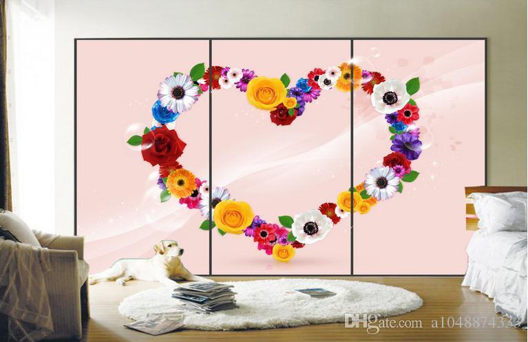 3D murales carta da parati immagine personalizzata murale carta da parati Una ghirlanda di fiori a forma di cuore 3D TV sfondo muro decorazioni la casa