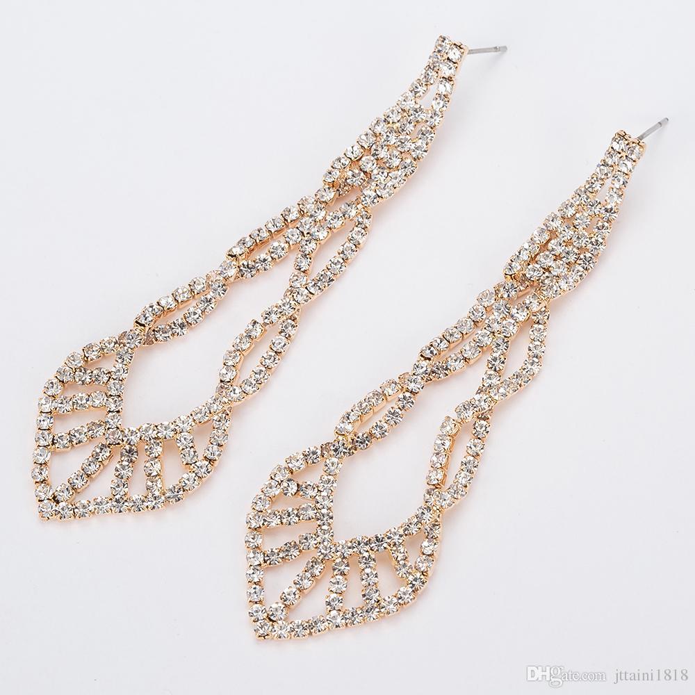 YFJEWE funkelnde Kristallabend-Partei-Ohrringe Hochzeit Braut lange baumeln Leuchter-Ohrringe Schmuck E402