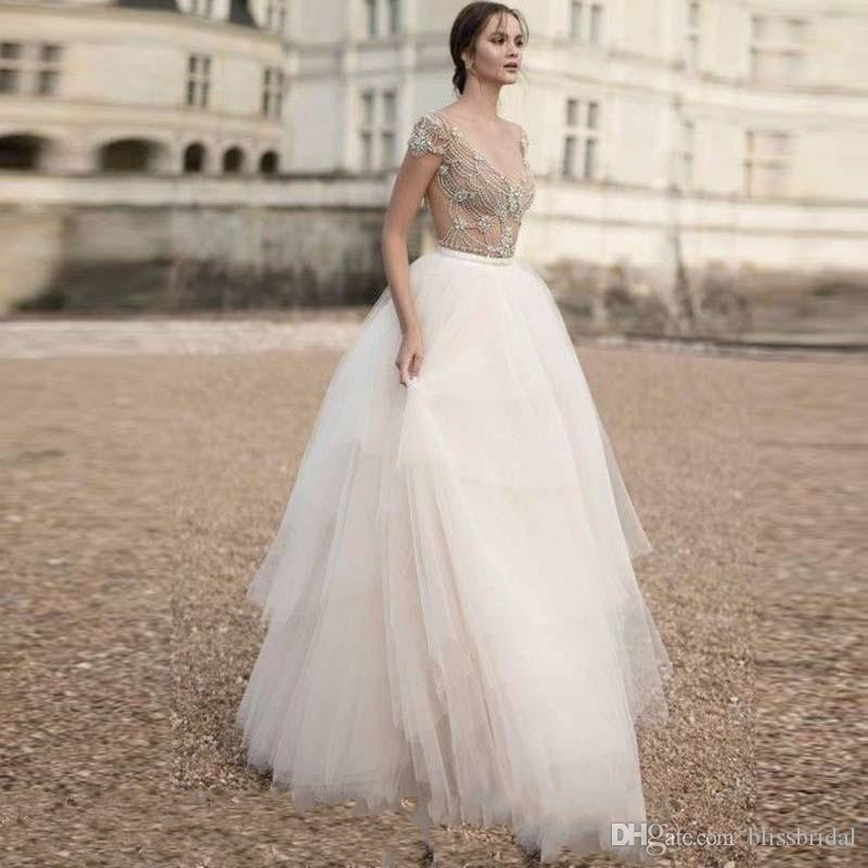 2bc712bd6302 Acquista Moda Puffy Tulle Bianco Gonne Sposa Sweep Treno Multi ...