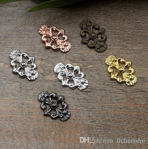 07597 12*17mm antique bronze/silver/rose gold/gun black filigree flower charm for jewelry making, metal component bracelet necklace pendants