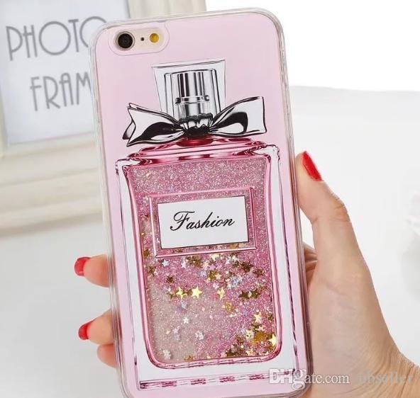 caso Flamingo chispa corazón de la flor taza de la botella caso piña perfume Glitter Liquid arena movediza para el iPhone 7 6 6S más cubierta chapado 7plus